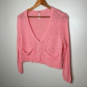 Free People Cropped Button Front Cardigan Sweater